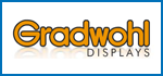 Logo: Gradwohl Displays, Siebdruck-Offsetdruck